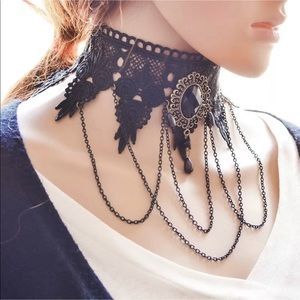 New black   Lace choker with chains